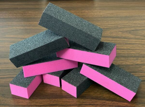 [LIMITED EDITION] NEW Black Grit Pink Sanding 3Way 100100120 Nail Buffer Block