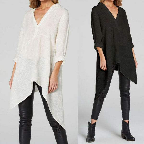 Women Long Sleeve Tunic Tops Asymmetrical Hem T Shirt Basic Cotton Blouse Shirt