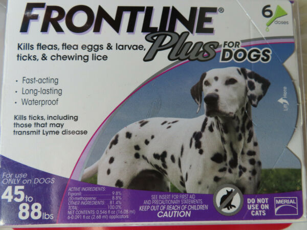 FRONTLINE PLUS DOGS 45-88Lbs FLEA & TICK CONTROL 6 DOSES NEW SEALED $44.85