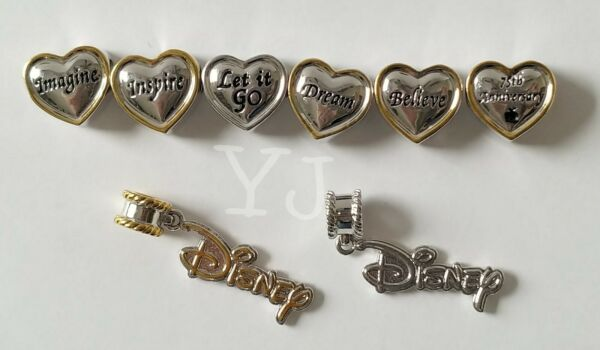 DISNEY BRACELET SLIDE CHARMS LOT OF 8 PRE OWNED $16.95