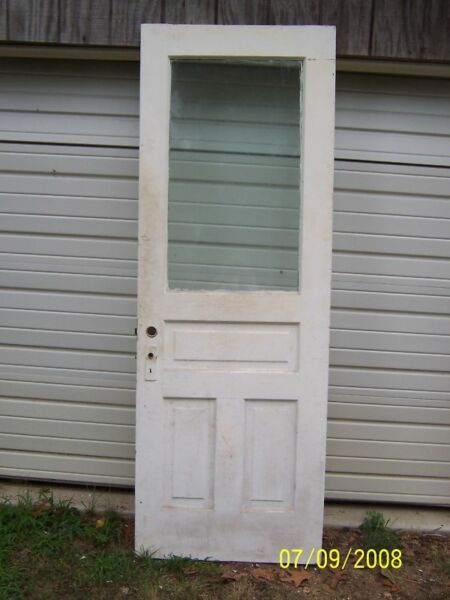 EXTERIOR ANTIQUE WOOD DOOR APPROX 30 x 83 LARGE PANE GLASS CAN SHIP $300.00