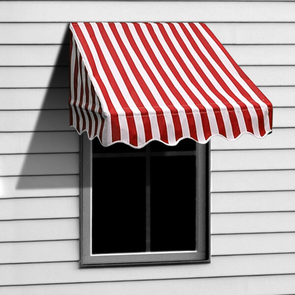 ALEKO Window Awning Door Canopy Decorator 4x2ft Shade Shelter Red White Stripes