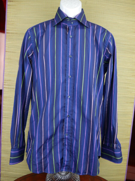 ETRO SHIRT SIZE 39 Striped Long Sleeved Button Front Purple Made In Italy B2 $28.98