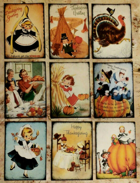 9 Vintage Thanksgiving~Craft Card Inserts~Card Making~SCrapbooking~Party Favors