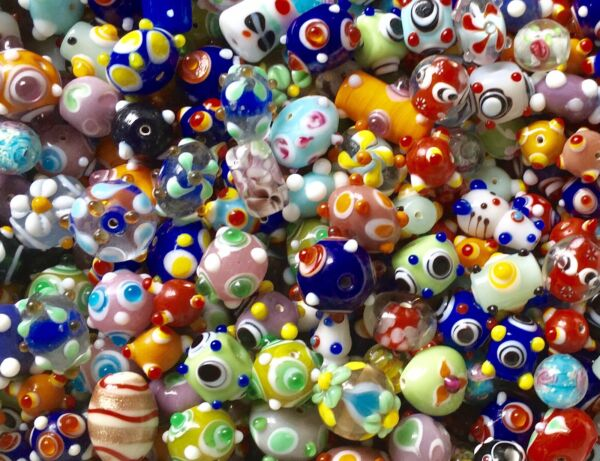 200 Assorted Handcrafted Fancy Art Bead Lot Wholesale Multicolored Mix $29.00