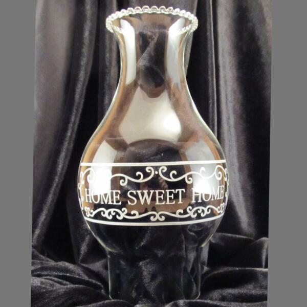 Home Sweet Home clear Glass oil lamp Chimney 3 inch base for #2  #3 burner