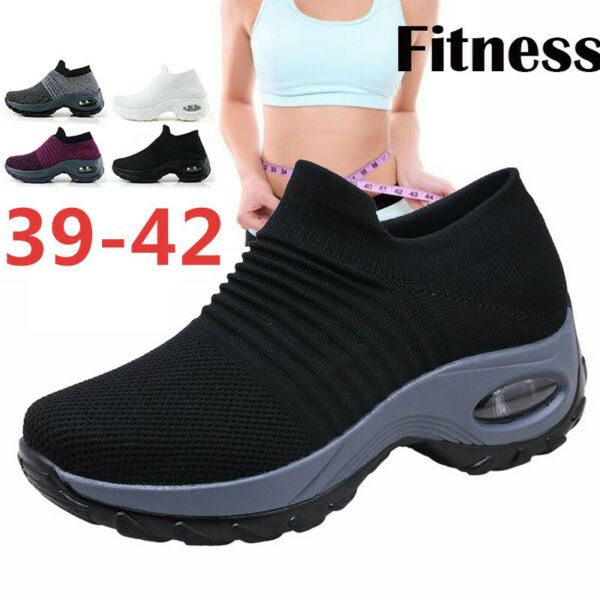 Plus Size Womens Wedge Shoes Slip on Breathable Air Cushion Platform Sneakers