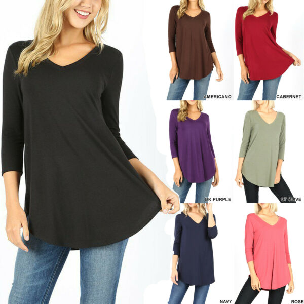 Womens 34 Sleeve T-Shirt V-Neck Casual Basic Tunic Top Long Loose Blouse