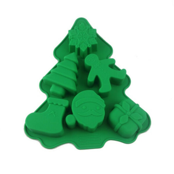 6 Holes Christmas Tree Silicone Mold Fondant Chocolate Mould Decor Baking Tools