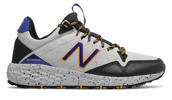 New Balance Men's Fresh Foam Crag Trail Shoes Grey with Black & Blue