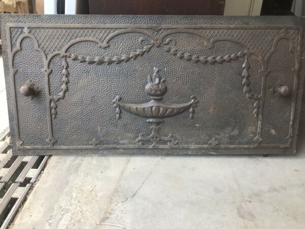 ANTIQUE CAST IRON ALADDIN LAMP FIREPLACE SUMMER COVER INSERT 26X12.25