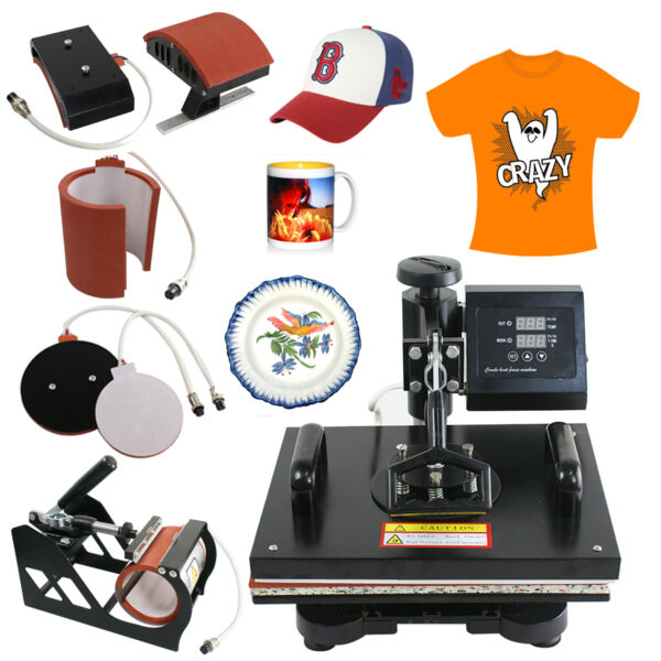 USED 5in1 Heat press Machine Transfer sublimation T-Shirt Hat Mug Cap 12