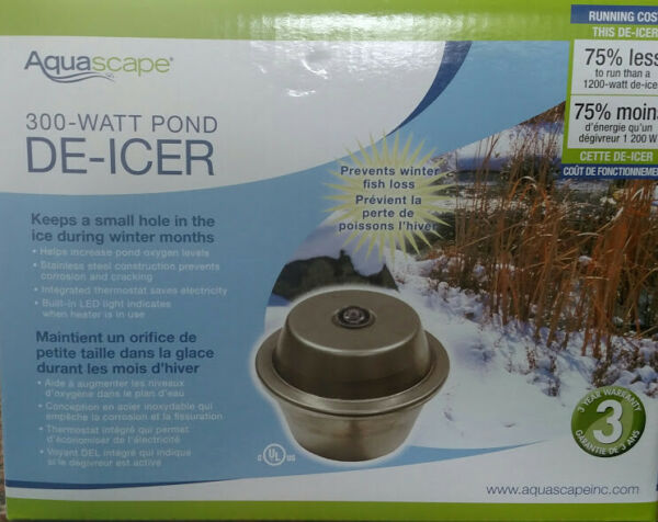 AQUASCAPE #39000 300 WATT POND DE-ICER   POND HEATER With Indicator Light!