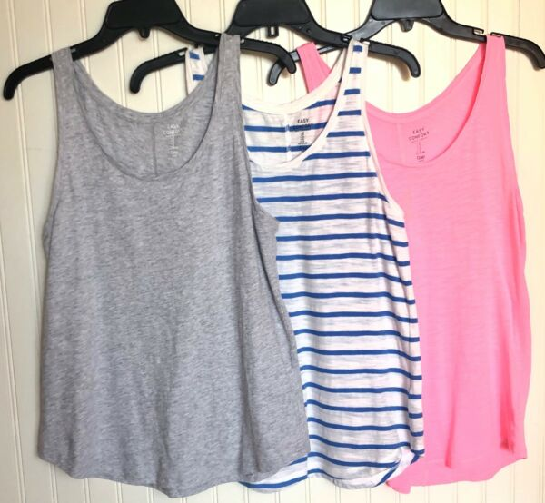 GAP Women's Factory Easy Confort Tank Top Set Of 3 Pink Gray Stripe Cot