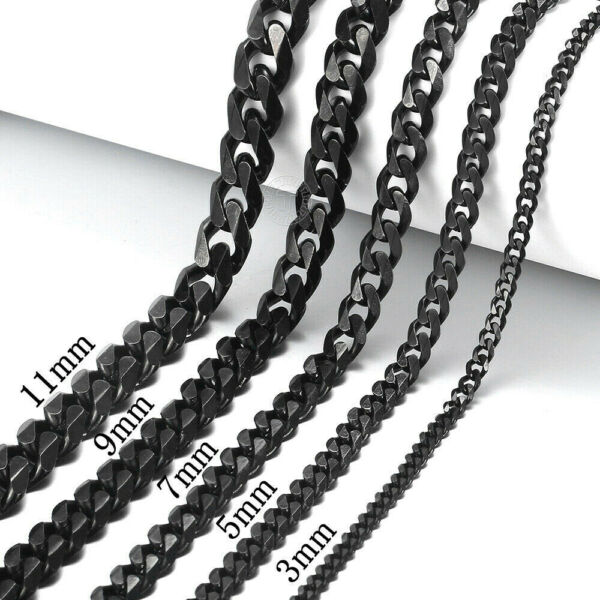 18quot; 30quot; Stainless Steel Black Tone Chain Cuban Curb Mens Necklace 3 5 7 9 11mm