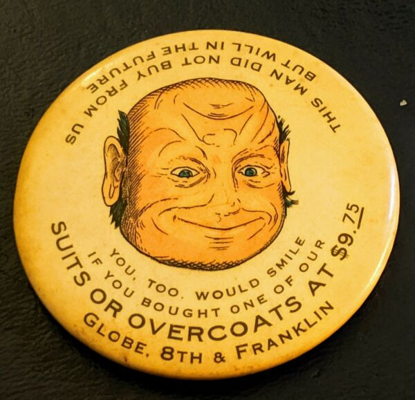 Very Early Funny Globe Men's Shop Advertising POCKET MIRROR St. Louis $9.75 suit