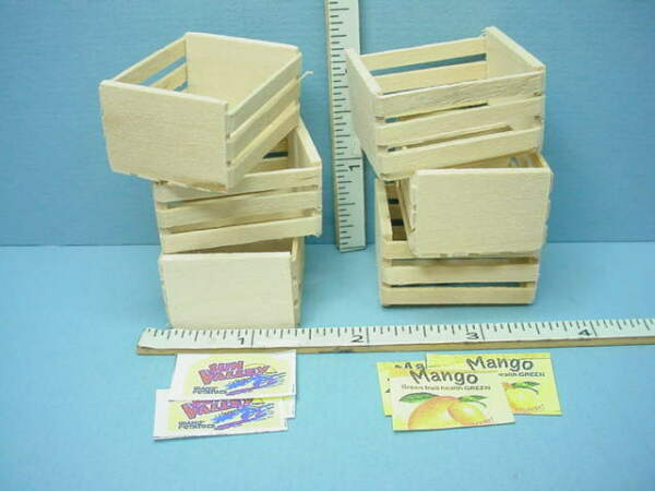 Miniature Wooden Crates wi Labels 6 Empty #WO501B Serendipity 1 12th