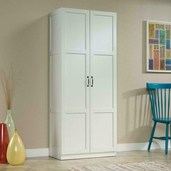 Tall Pantry Cabinet White Double Doors Kitchen Cupboard Shelves Storage White US