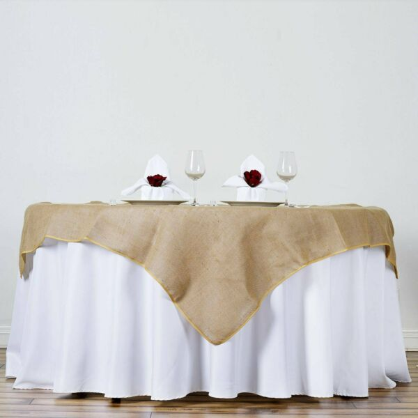 60x60quot; Natural Brown BURLAP SQUARE TABLE OVERLAY Wedding Party Tradeshow Linens