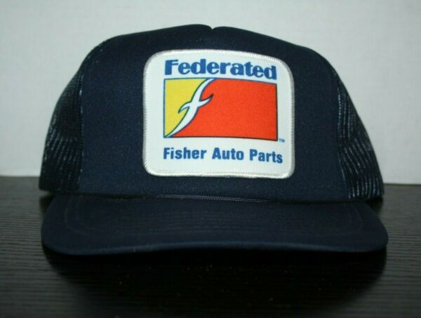 Vintage Federated Fisher Auto Parts Navy Blue Hat Cap Patch Big Trucker Hat $12.99