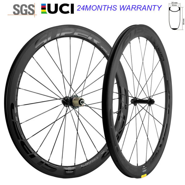 New Superteam Wheels 700C Clincher 50mm Carbon Wheelset Road Bicycle 25mm Wheels $368.00