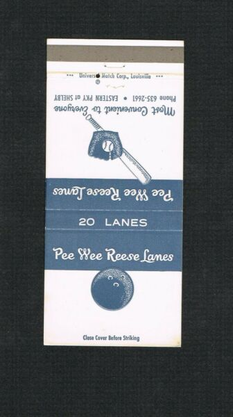 RARE Brooklyn Dodgers Los Angeles Pee Wee Reese baseball matchbook matchcover LA