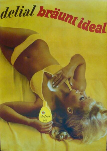 DELIAL tanning sun lotion Vintage 1969 Swiss advertising poster C 36x51 RARE NM $500.00