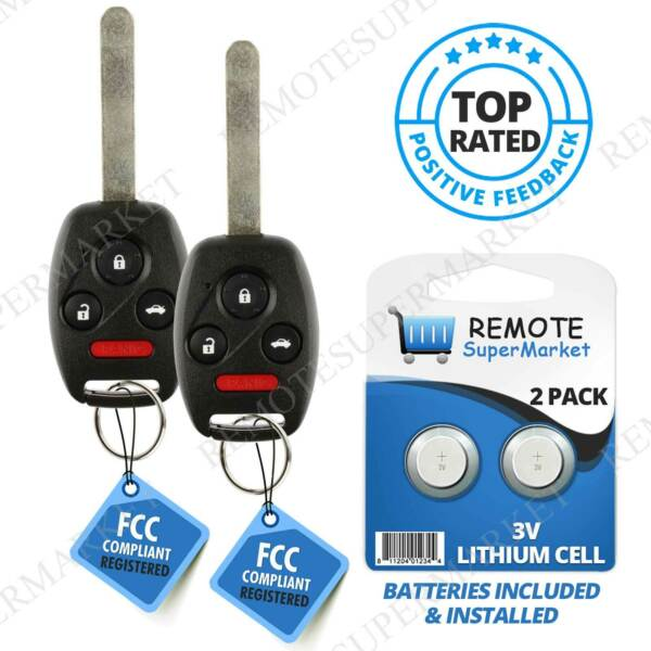 2 For Honda Civic EX SI 2006 2007 2008 2009 2010 2011 Remote Car Key Fob