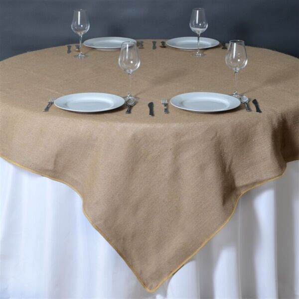 Natural BURLAP 60x60quot; TABLE OVERLAY Rustic Wedding Party Catering Decoration