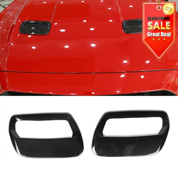 Carbon Fiber ABS Hood Engine Air Vent Cover Trim For Ford Mustang 2018 2019 US