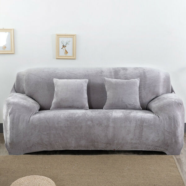Sofa Covers 1234 Seater Pure Color Sofa Protector Velvet Easy Fit Elastic US