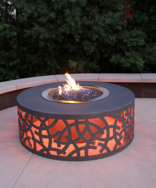 Fire Pit Aluminum Outdoor Powder Coated With LED Lighting Gas Ring 60