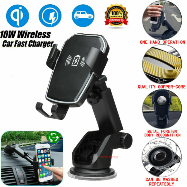 Qi Wireless Fast Charging Car Charger Mount Holder Stand 2 in 1 For Cell Phone $13.79