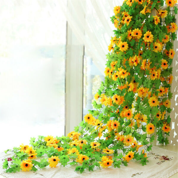 8.2ft Artificial Sunflower Garland Fake Flowers Plant Christmas Party Home Decor