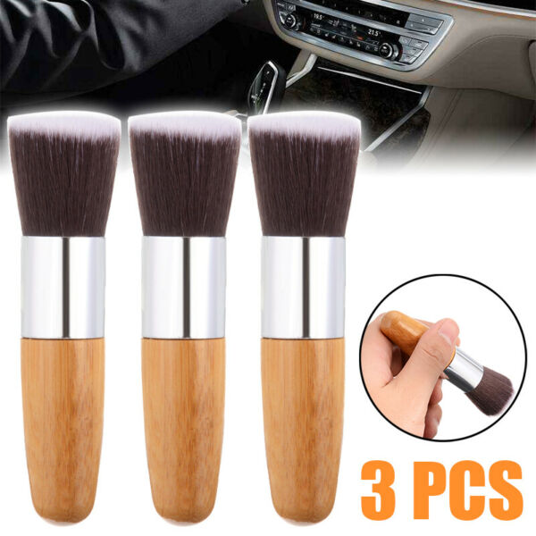 3pc Car Detailing Brush Wheels Body Interior Super Soft Cleaning Brushes Tool