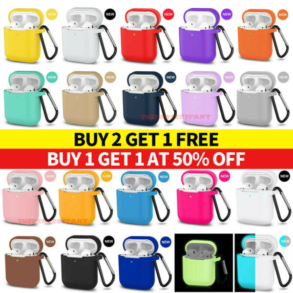 For Apple AirPods Case 1 2 Silicone Protector Shockproof Full Cover Keychain