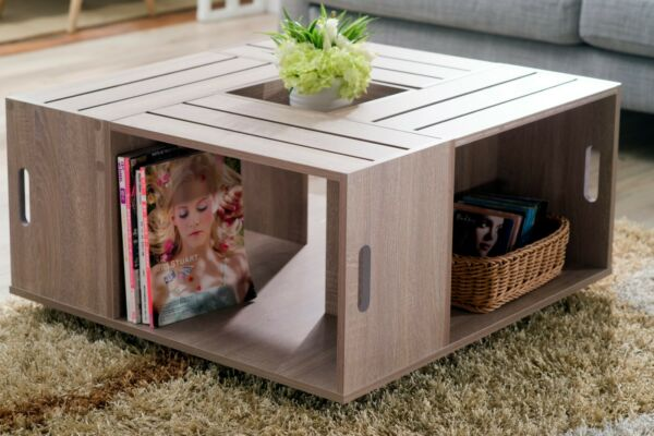 Weathered Coffee Table Rustic Country Wine Crates Inspired 4 Open Shelves Wheels