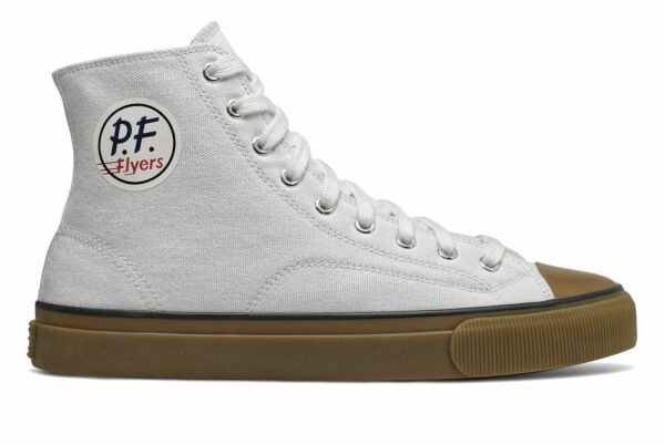 PF Flyers All American Hi Unisex Shoes White with Tan Size