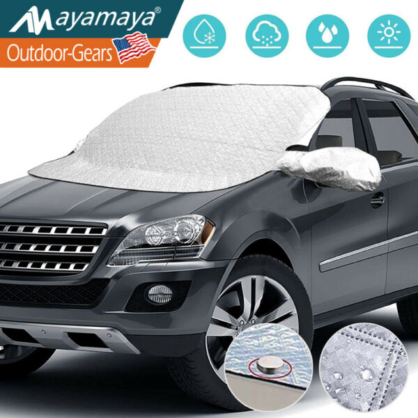 Car Windshield Cover Snow Frost Ice Magnetic Sun Protector Truck Scraper Winter