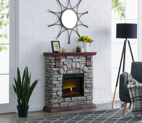 Bold Flame 38 inch Faux Stone Electric Fireplace in BrownTan
