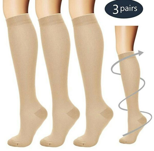 3Pair Knee High Graduated Compression Socks Men Women Stocking Fit for Diabetics