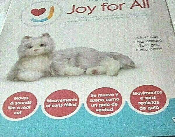 Joy for All Companion Cat Silver Gray Fur White Paw Interactive Kitty by Hasbro