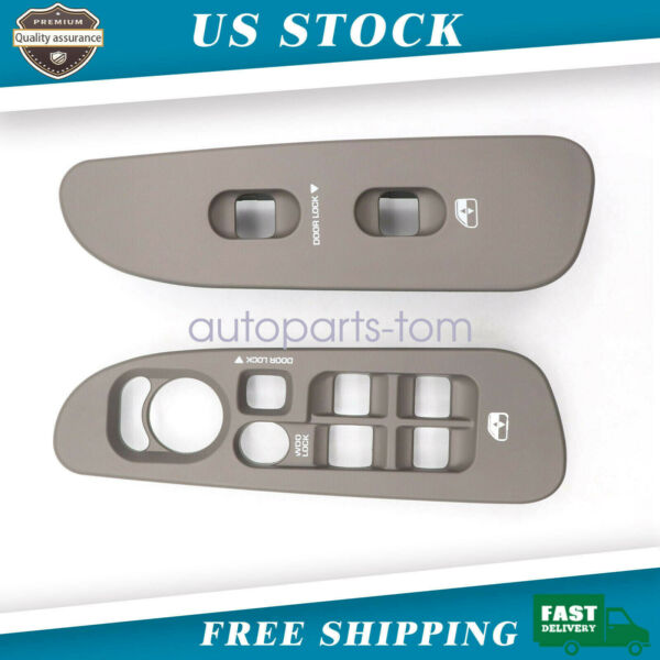 Left and Right Window Switch Lock Bezel Set Tan Taupe Fit For 2002-05 Dodge Ram