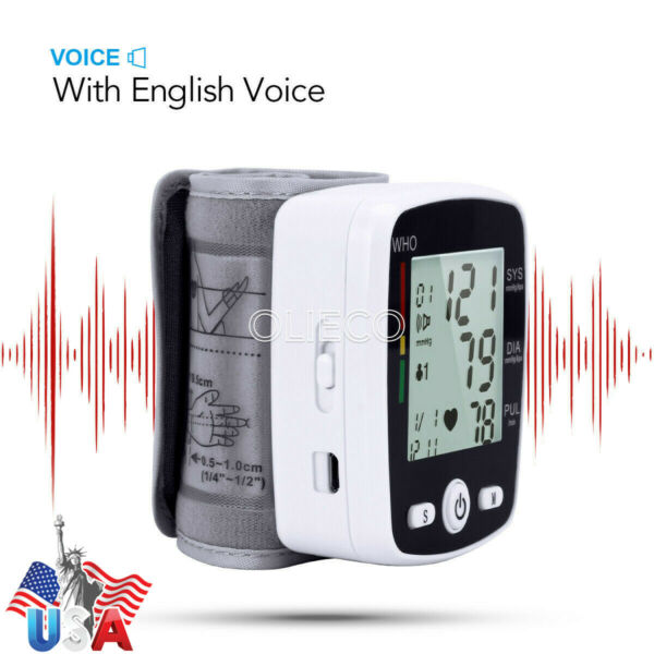 Automatic LCD Digital Wrist Blood Pressure Monitor Heart Beat Meter Voice