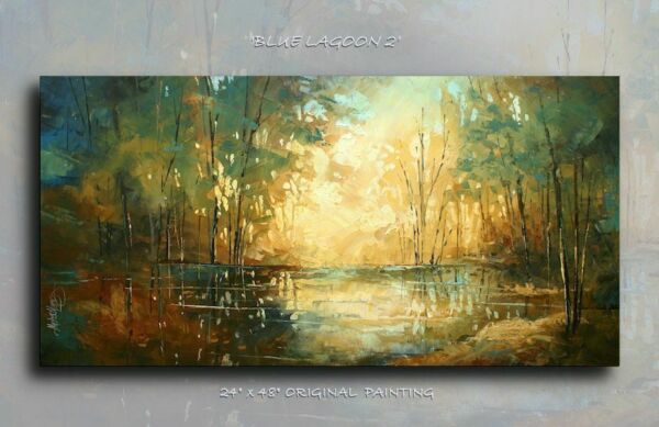 Landscape Art Original Palette Knife Painting Contemporary Mix Lang cert. Unique