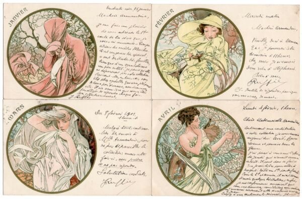 COMPLETE SET OF 12 MUCHA POSTCARDS MONTHS OF THE YEAR WRITTEN IN FRENCH 1901