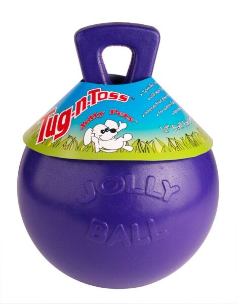 Jolly Pets Tug-N-Toss 6 inch Purple  Rubber Ball with Handle Chew Toy for Dogs $15.95