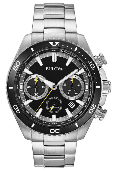 Bulova 98B298 Men's High Frequency Stainless Steel Black Dial Chronograph Watch