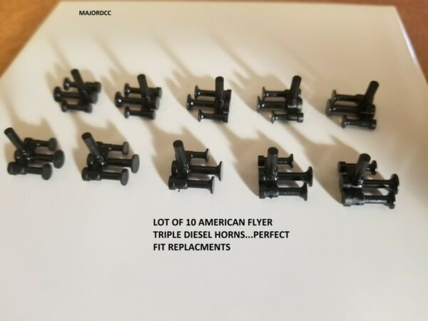 Lot of 10 AMERICAN FLYER DIESEL TRIPLE HORNs  REPRODUCTION PA11409...PERFECT FIT