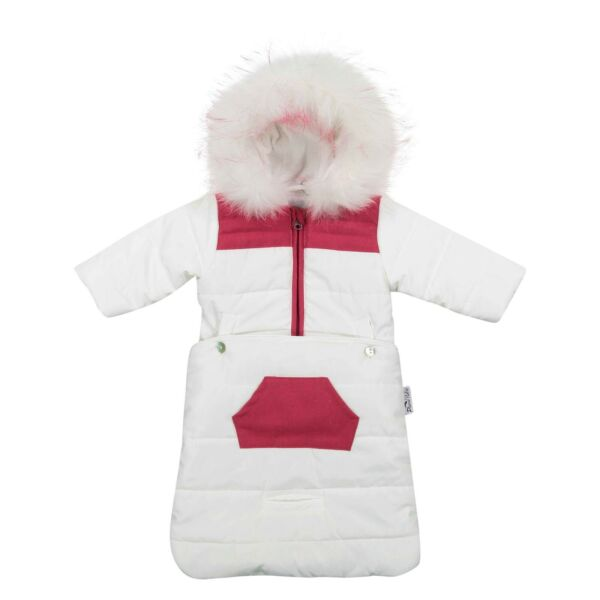 Plume Baby Two Piece Convertible Infant Snowsuit Bunting Color White Raspberry